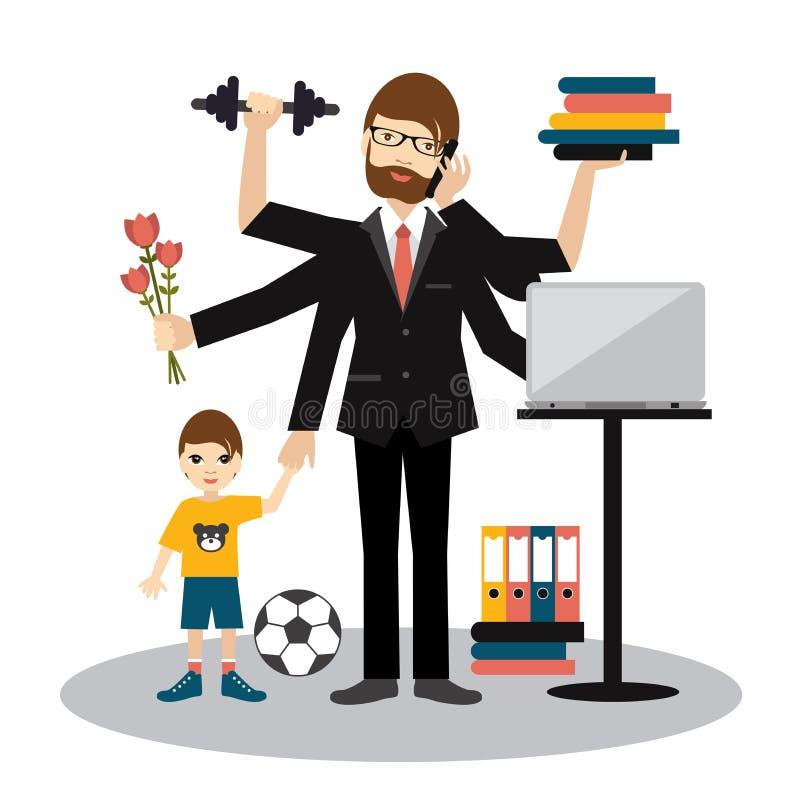 Uomo a funzioni multiple occupato, padre, papà, papà, marito romantico, uomo d'affari illustrazione vettoriale