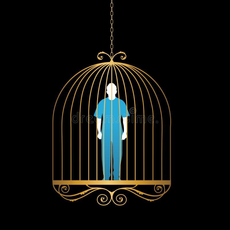Uomo in gabbia per uccelli dell'oro illustrazione di stock