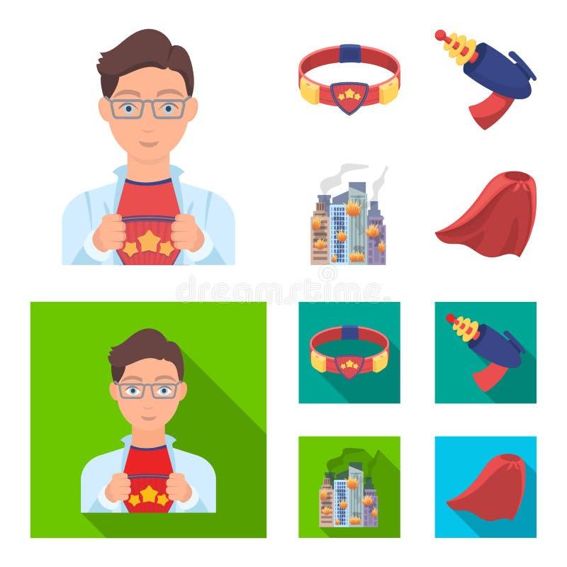 Uomo, giovani, vetri e l'altra icona di web nel fumetto, stile piano Superman, cinghia, icone della pistola nella raccolta dell'i illustrazione vettoriale