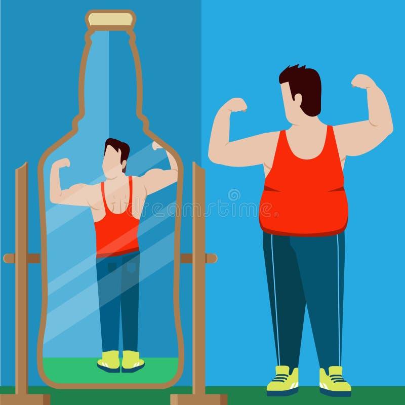 Uomo grasso che guarda vettore piano dello sportivo di riflessione di specchio della birra royalty illustrazione gratis