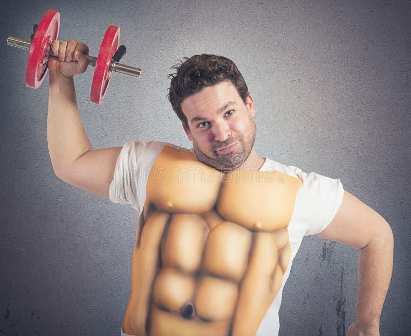 Uomo grasso con l'ABS fotografia stock libera da diritti
