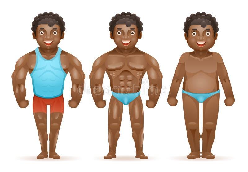 Uomo grasso muscolare del culturista afroamericano di perdita di peso prima dopo progettazione del fumetto isolata caratteri feli illustrazione di stock