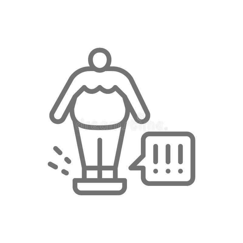 Uomo grasso sulle scale, linea di controllo del peso icona illustrazione vettoriale