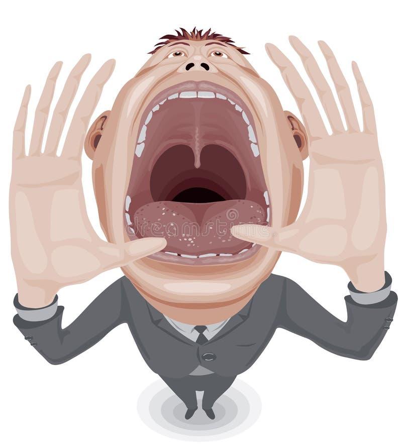Uomo gridante illustrazione vettoriale