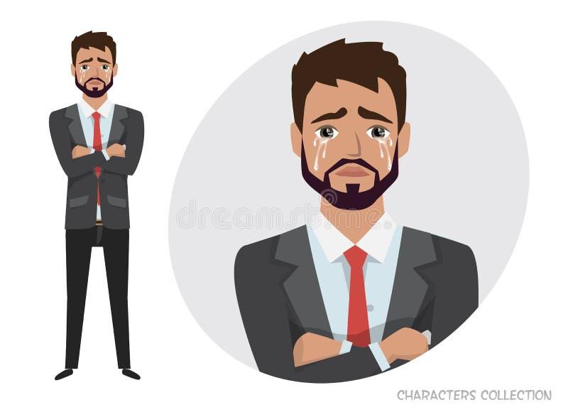 Uomo gridante Sensibilità negativa di espressione facciale di emozione L'uomo d'affari è gridare triste illustrazione vettoriale