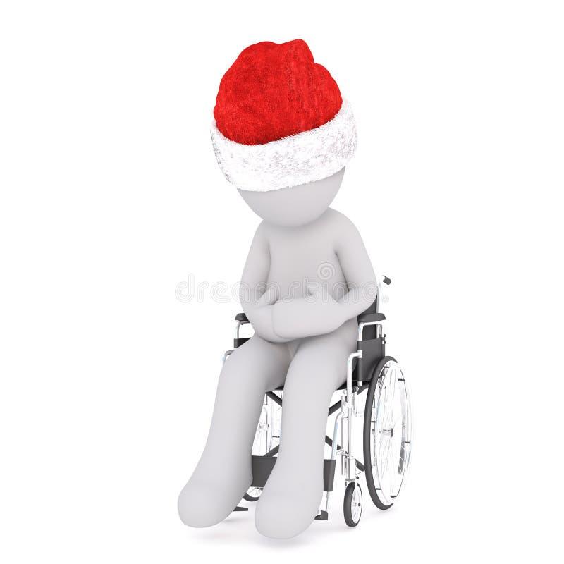 Uomo handicappato 3d che si siede in una sedia a rotelle illustrazione vettoriale