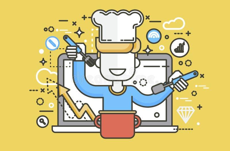 Uomo HLS del dietista del dietista del cuoco del cuoco unico dell'illustrazione di vettore che cucina sano adeguato del blog di r illustrazione di stock