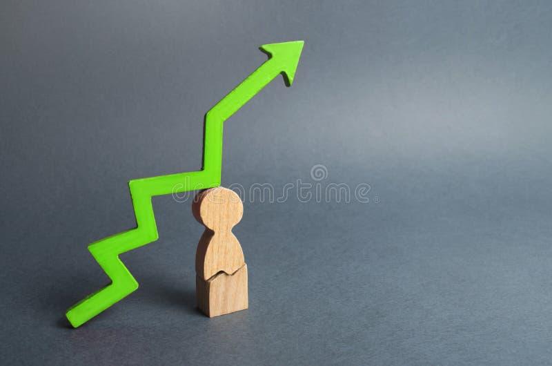 Uomo incrinato e freccia verde su Alto carico di lavoro o situazione tesa a casa Vitalità riduttrice, danneggiamento di salute, a fotografie stock