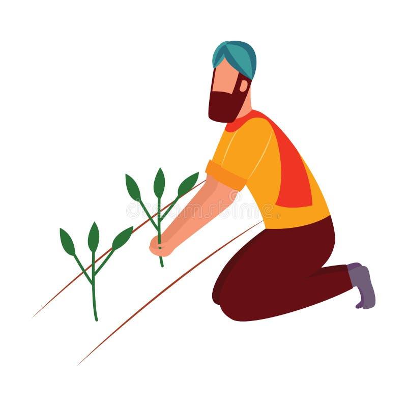 Uomo indiano dell'agricoltore che si inginocchia e che tiene stile piano del fumetto della pianta coltivata royalty illustrazione gratis