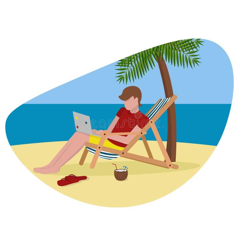 Uomo indipendente sulla spiaggia con la palma del computer portatile illustrazione di stock