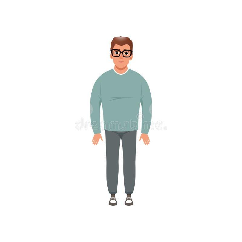 Uomo invecchiato mezzo in abbigliamento casual, fase di crescere l'illustrazione di vettore di concetto isolata su un fondo bianc illustrazione di stock