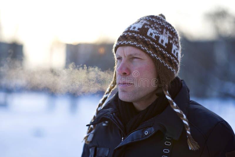 Uomo in inverno immagine stock