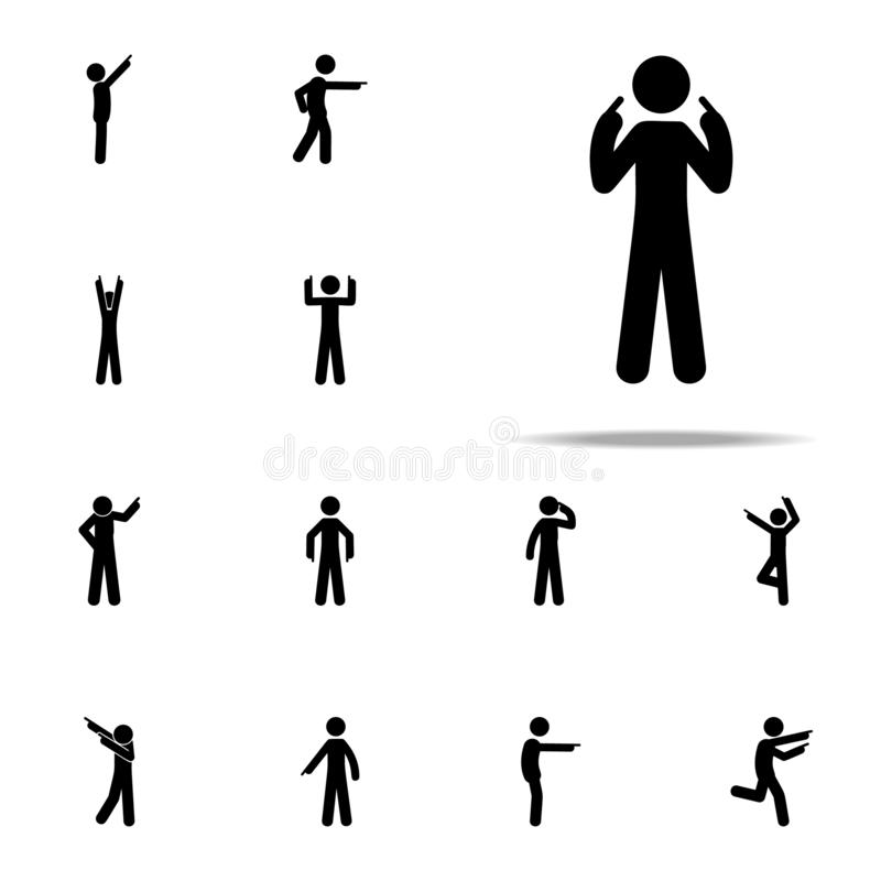 uomo io stesso, icona del dito Uomo che indica l'insieme universale delle icone del dito per il web ed il cellulare illustrazione di stock