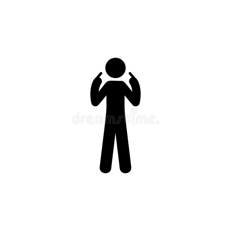 uomo io stesso, icona del dito Elemento dell'uomo che indica icona per i apps mobili di web e di concetto L'uomo dettagliato io s illustrazione di stock