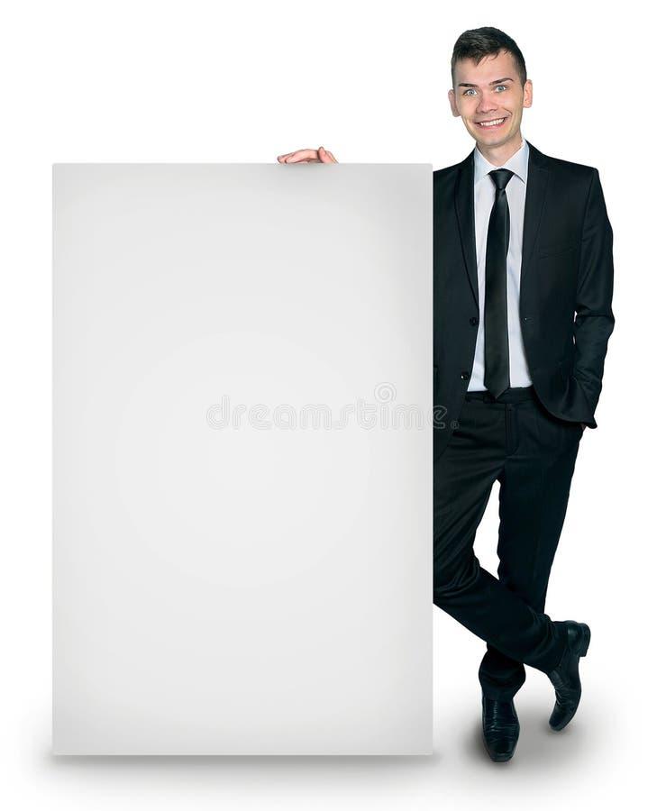 Uomo isolato di affari con il bordo fotografia stock libera da diritti