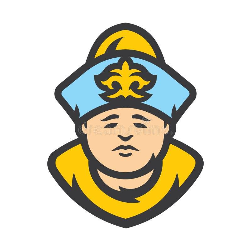 Uomo kazako di vettore in vestiti storici kazakhstan Illustrazione del fumetto illustrazione vettoriale