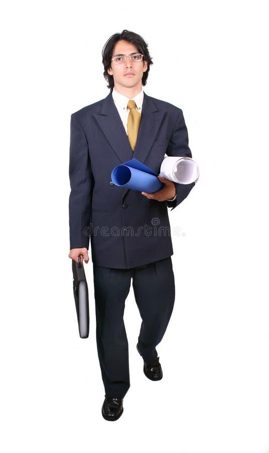Uomo latino di affari pronto a funzionare fotografia stock