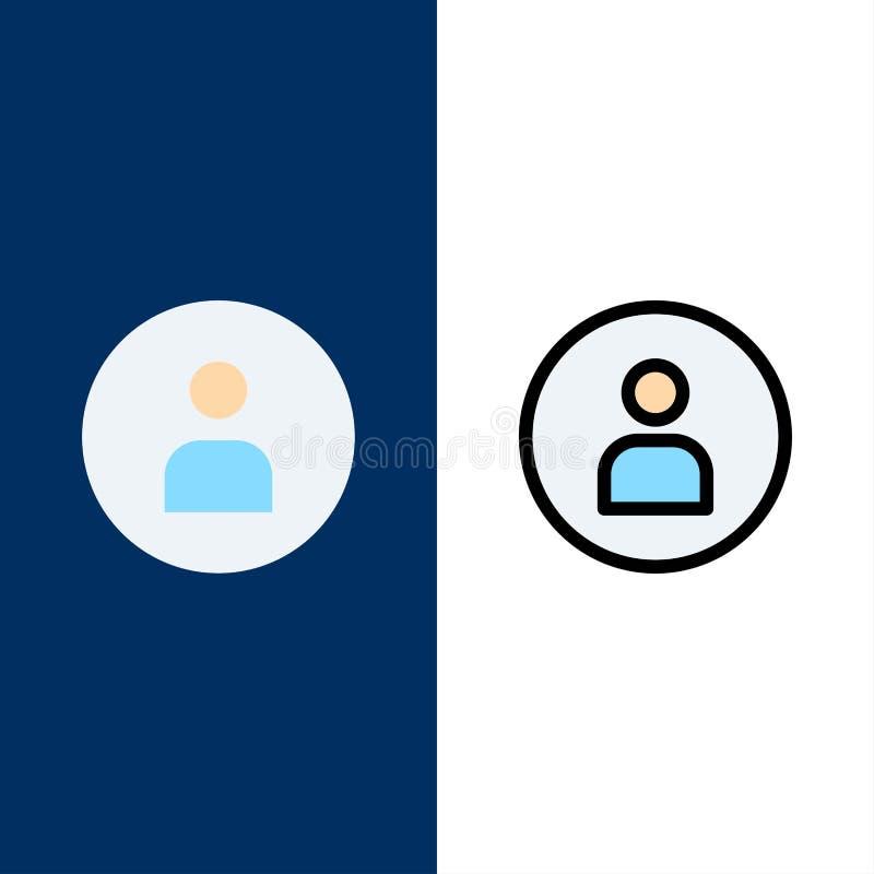 Uomo, lavoratore, di base, icone di Ui Il piano e la linea icona riempita hanno messo il fondo blu di vettore illustrazione vettoriale