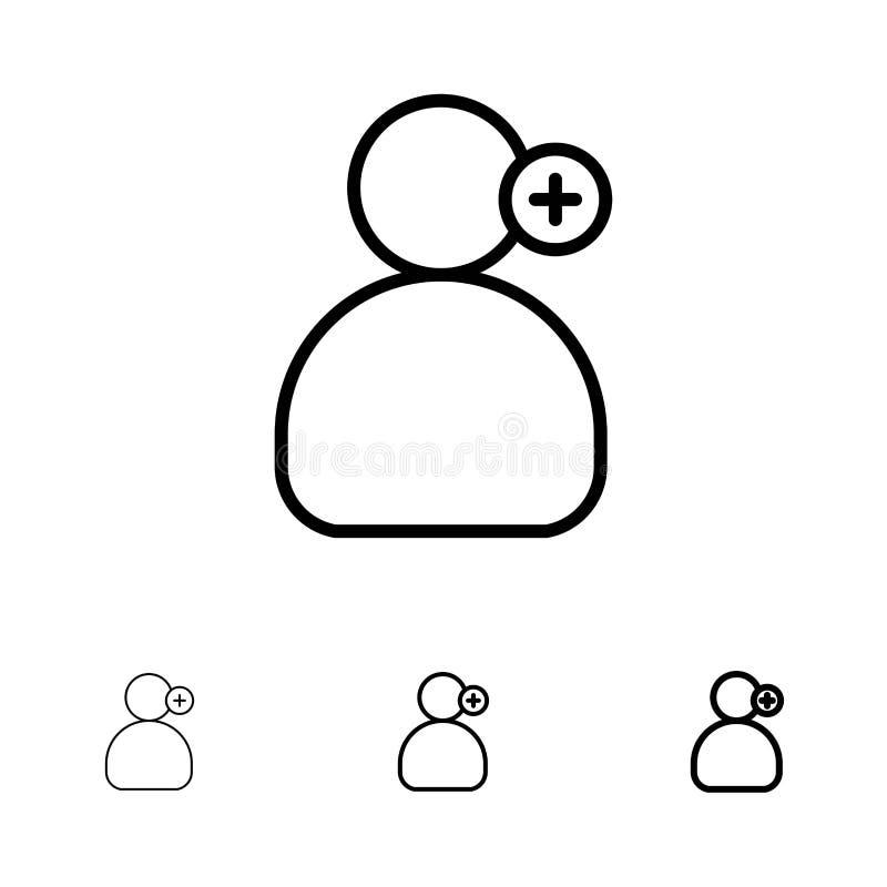 Uomo, lavoro, funzionamento, linea nera audace e sottile medica insieme dell'icona illustrazione di stock