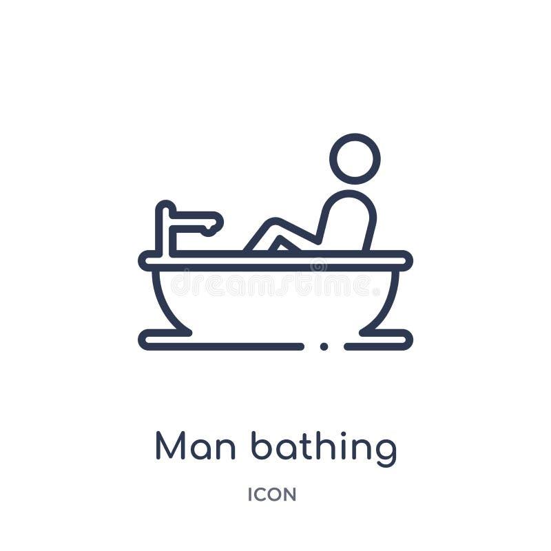 Uomo lineare che bagna icona dalla raccolta del profilo di comportamento Linea uomo sottile che bagna vettore isolato su fondo bi illustrazione vettoriale