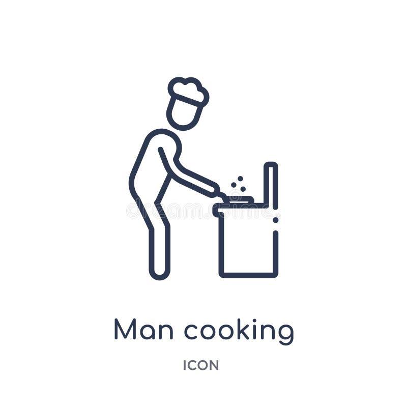 Uomo lineare che cucina icona dalla raccolta del profilo di comportamento Linea uomo sottile che cucina vettore isolato su fondo  royalty illustrazione gratis