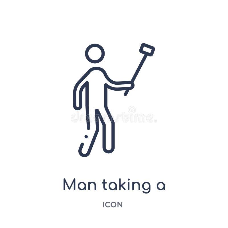 Uomo lineare che prende un'icona del selfie dalla raccolta del profilo di comportamento Linea uomo sottile che prende un vettore  royalty illustrazione gratis