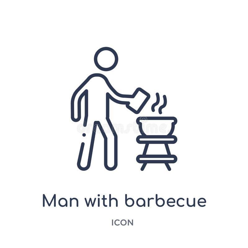 Uomo lineare con l'icona del barbecue dalla raccolta del profilo di comportamento Linea uomo sottile con il vettore del barbecue  illustrazione vettoriale