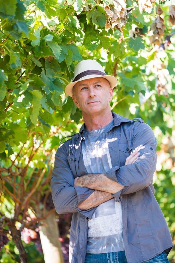 Uomo maggiore bello in cappello di paglia fotografia stock libera da diritti