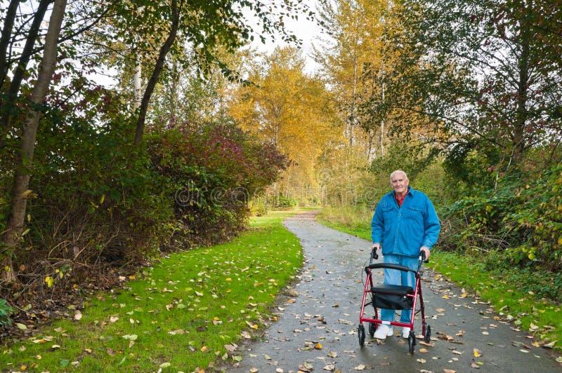 Uomo maggiore con il camminatore in sosta immagine stock libera da diritti