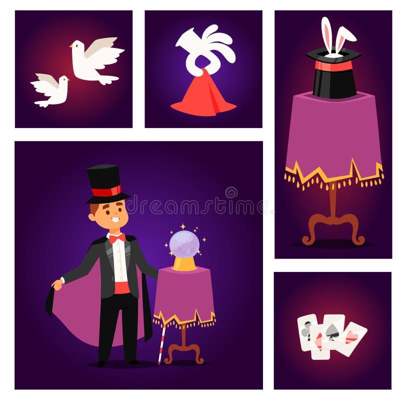 Uomo magico del fumetto di manifestazione del prestigiatore dell'illustrazione di vettore delle giocoliere di trucchi del caratte illustrazione di stock