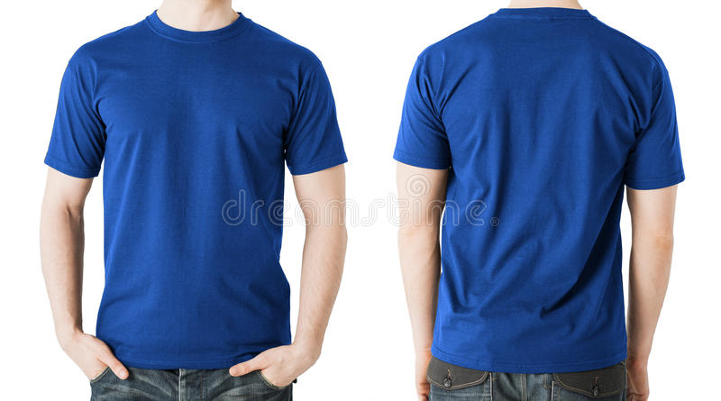 Uomo in maglietta blu in bianco, nella parte anteriore e nella vista posteriore immagine stock