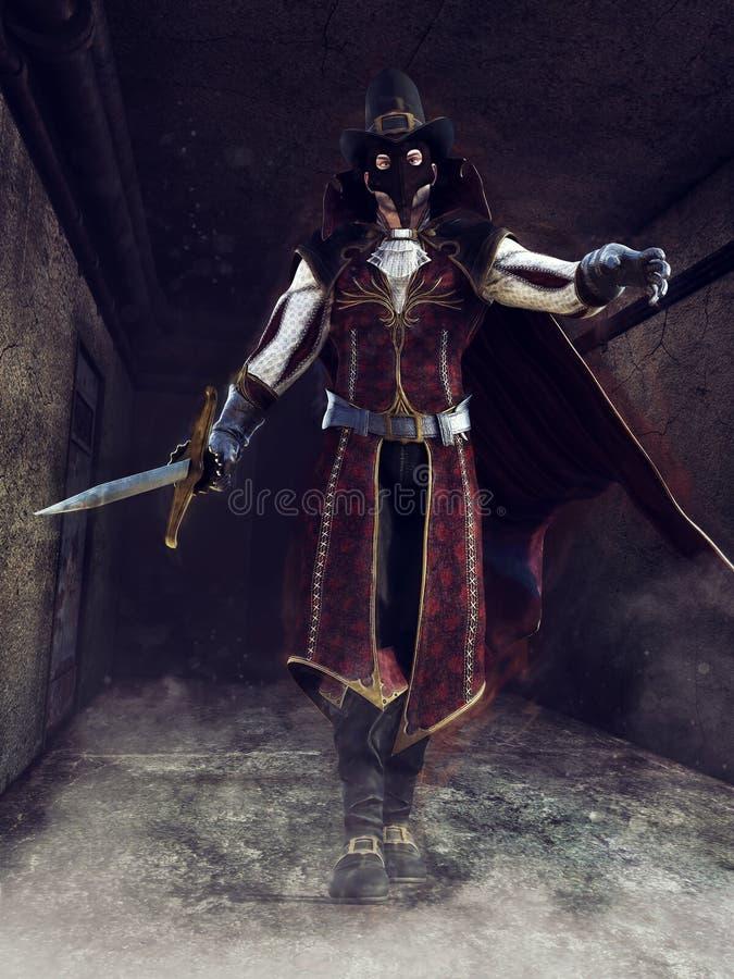 Uomo mascherato con una spada royalty illustrazione gratis