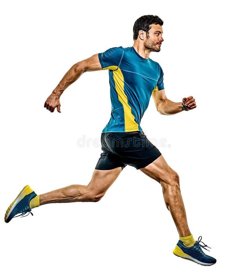 Uomo maturo che corre correndo a jogging jogger su fondo bianco isolato immagini stock