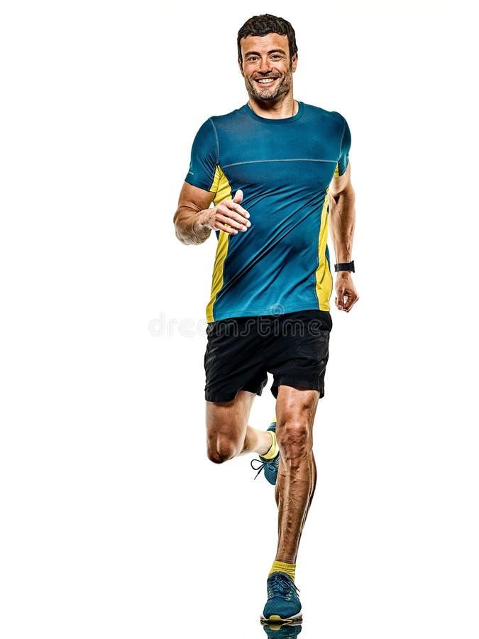 Uomo maturo che corre correndo a jogging jogger su fondo bianco isolato fotografia stock libera da diritti
