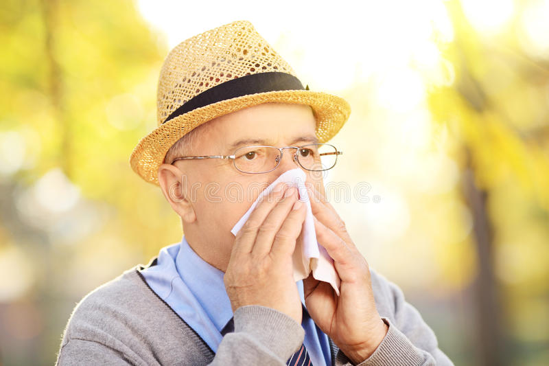 Uomo maturo che soffia il suo naso in tessuto a causa dell'essere outsi malato immagine stock