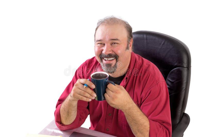 Uomo Medio Evo con il suo caffè di mattina fotografie stock