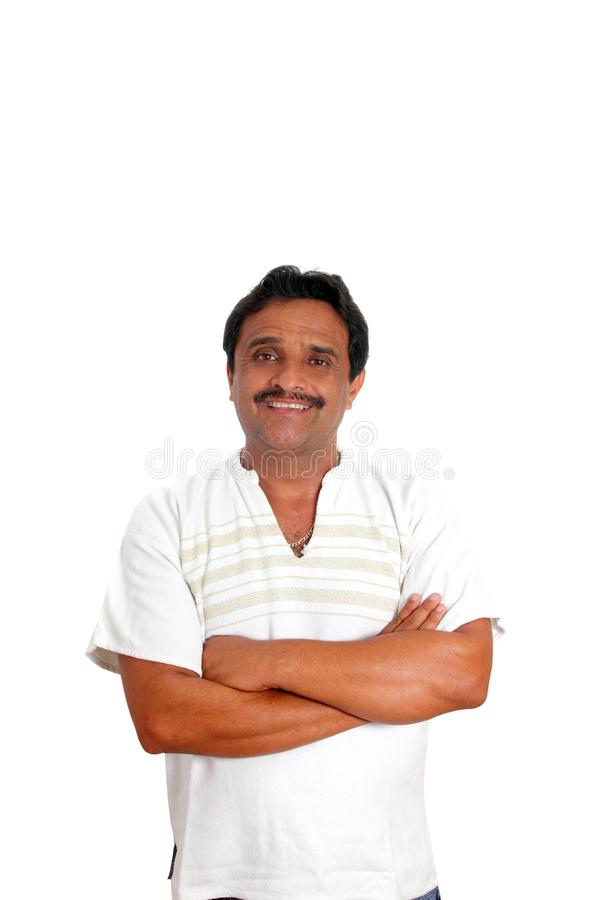 Uomo messicano con sorridere mayan della camicia fotografie stock libere da diritti