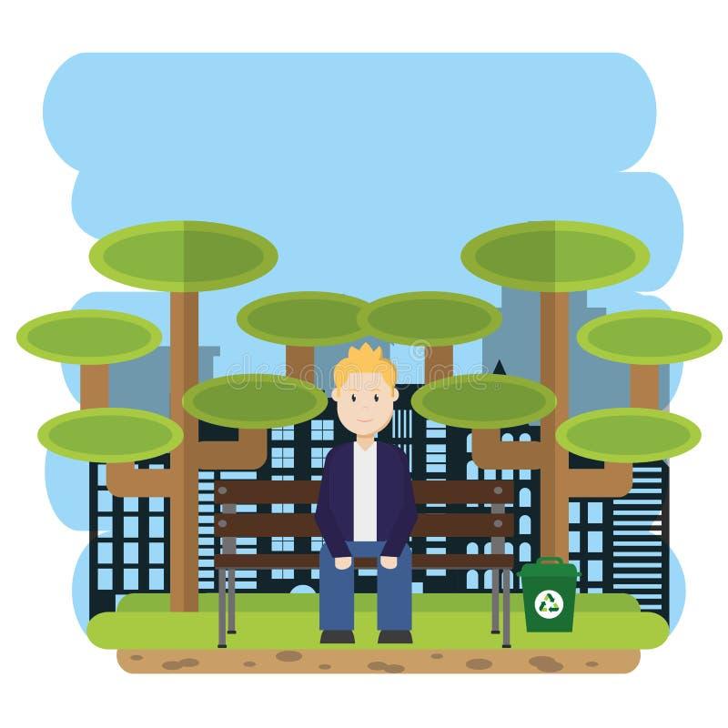 Uomo messo al parco illustrazione di stock
