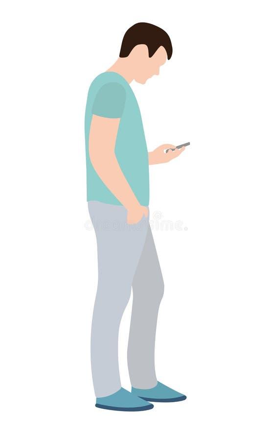 Uomo moderno integrale con uno smartphone nella sua vista laterale delle mani illustrazione vettoriale