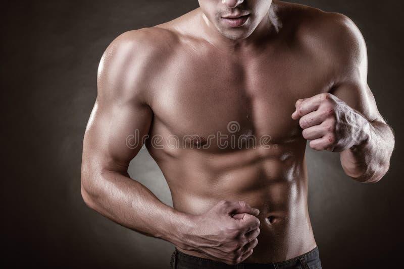 Uomo muscolare in buona salute immagine stock