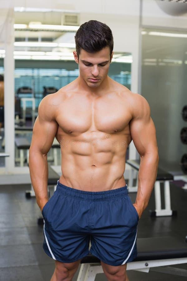 Uomo muscolare che guarda giù immagine stock libera da diritti