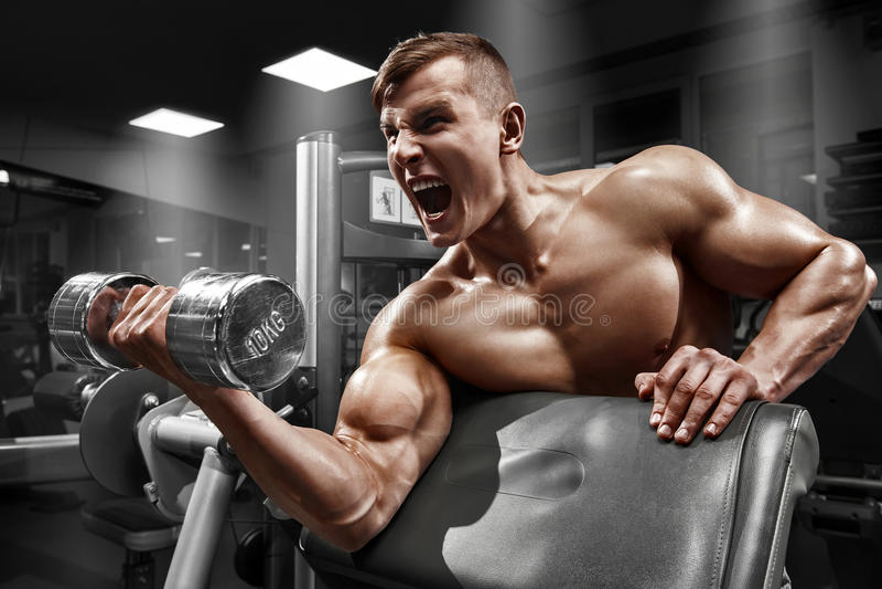 Uomo muscolare che risolve nella palestra che fa gli esercizi con la testa di legno al bicipite, forte ABS nudo maschio del torso fotografia stock