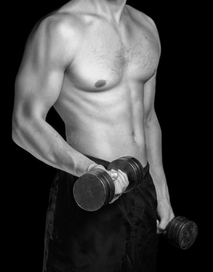 Uomo muscolare con le teste di legno immagine stock libera da diritti