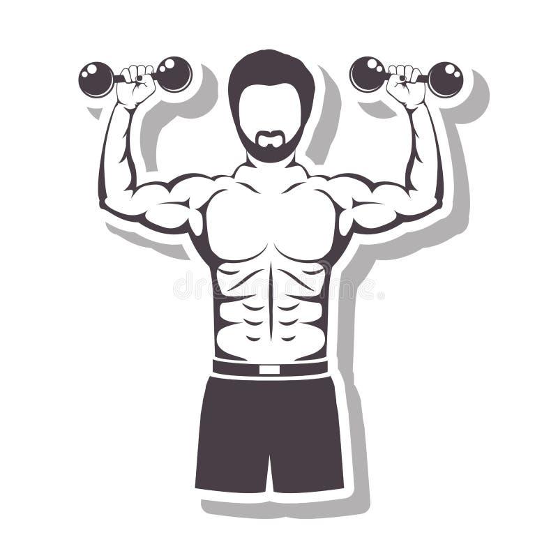 Uomo muscolare della siluetta in rilievo che solleva una testa di legno illustrazione vettoriale