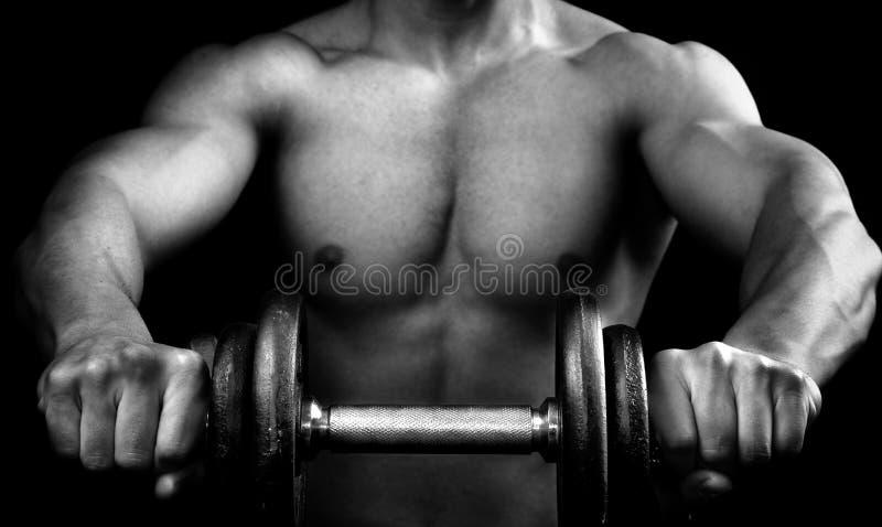 Uomo muscolare potente che tiene un dumbbell immagine stock