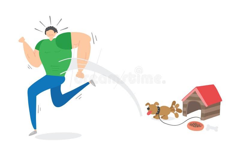 Uomo muscolare spaventato di piccolo cane e di fuggiree, illustrazione disegnata a mano di vettore royalty illustrazione gratis