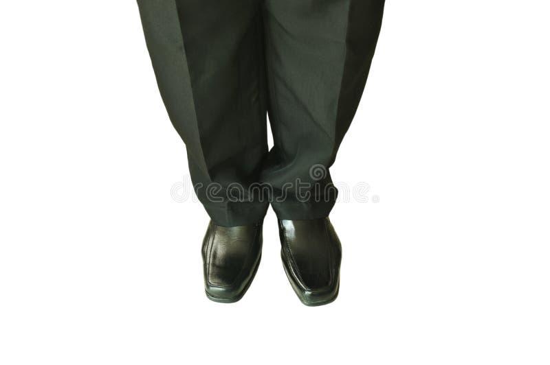 Uomo in mutanda di affari e scarpa nere della schiuma su fondo bianco immagini stock