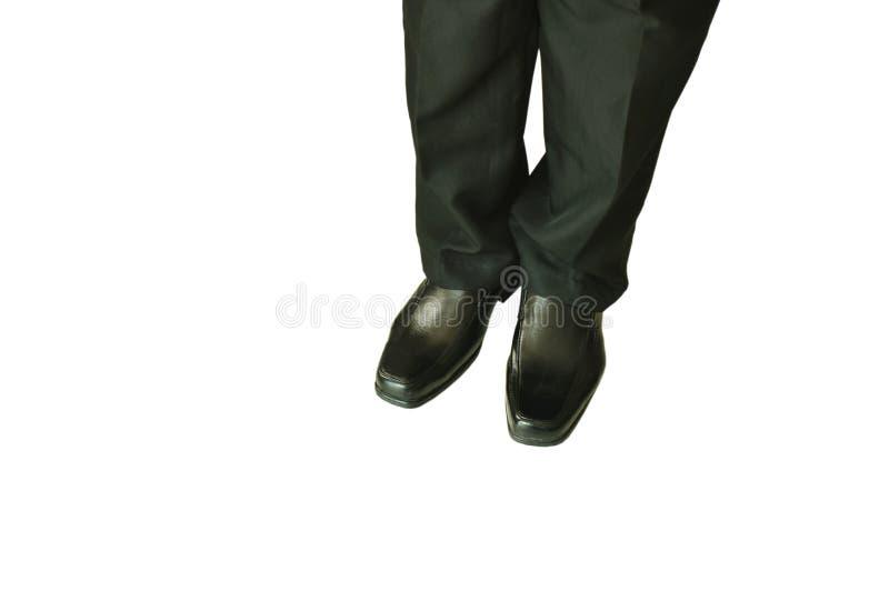 Uomo in mutanda di affari e scarpa nere della schiuma su fondo bianco immagini stock libere da diritti