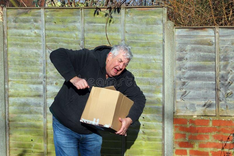 Uomo nel dolore che porta scatola pesante fotografie stock libere da diritti