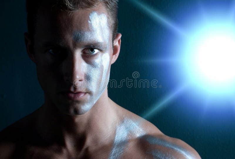 Uomo nel facepaint immagini stock libere da diritti